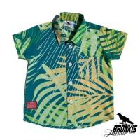 Kemeja Hem Baju Anak Bayi 0-5 tahun motif corak hijau daun distro