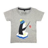Kaos Anak - Anak Motif Penguin Warna Abu Misty L017 by Little Jergio - Extra Large