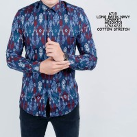 Kemeja Batik Songket Pria Panjang Modern Navy Brown Black Original