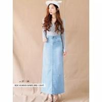 Celana Rok Panjang Wanita Jeans Biru Hitam Hijaber Korean Fashion