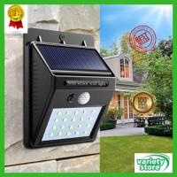 Lampu Taman Solar Power Wall Lamp Light Motion Sensor 20 Led 460 Lumen - Hitam