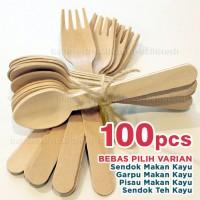 100 pcs Sendok Garpu Pisau Makan KAYU Set Teh Es Krim no Plastik Putih