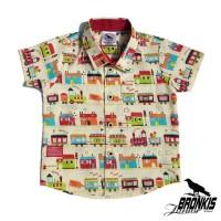 Kemeja Hem Baju Anak Bayi 0-5 tahun motif corak mobil car krem distro