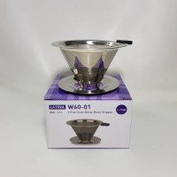 Latina W60.01 Metal Dripper - V60 Flat Cone Stainless Mesh REW-1113