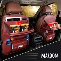 Car Seat Organizer Jok Mobil Multifungsi Kulit Premium Dengan Meja - Maroon