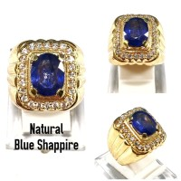 CINCIN BATU AKIK PERMATA NATURAL BLUE SHAPPIRE CORUNDUM RING ALPAKA