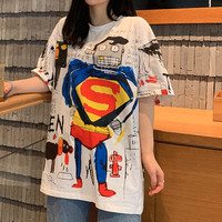 kaos motif lucu boneka cartoon atasan wanita korea putih unik lucu