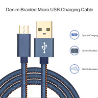Kabel Data Joyseus Micro USB 2,4 A Denim Nylon Charger Cable 1,2 m