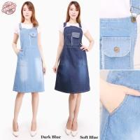 Overall Dress Midi Xsan Pendek Jeans Jumpsuit Casual Wanita