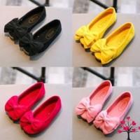 Sepatu Flat Anak Perempuan Beludru Pita Princess Shoes