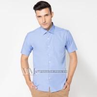 VM Kemeja Polos Slim Fit Abu Soft / Light Blue Short Sleeve Shirt