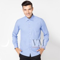 VM Kemeja Basic Slim Panjang Biru Muda - Long Shirt sleeves Soft Blue
