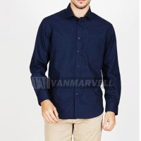 VM Long Slim Shirt Navy Blue - Kemeja basic Slimfit Biru Navy Panjang