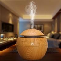 Aromatherapy Air Humidifier Desain Kayu lampu LED difuser coklat muda