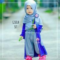 Gisela Set - Baju Muslim Balita dengan Cardigan dan Pasmina Instan