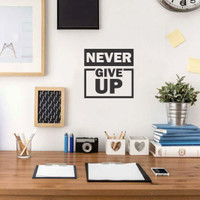 Wall Sticker A4 Quotes Never Give Up Square Stiker Cutting Sticker