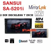 HEAD UNIT DOUBLE DIN DECKLESS SANSUI MIRRORLINK SMARTPHONE, USB MOVIE