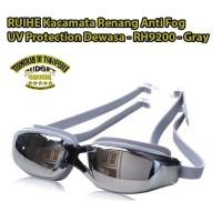 RUIHE Kacamata Renang Anti Fog UV Protection Dewasa - RH9200 - Gray