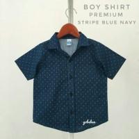 kemeja hem baju pakaian anak bayi cowok corak motif biru navy distro