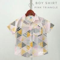 kemeja hem baju pakaian anak bayi cowok corak motif pink salem distro