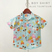 kemeja hem baju anak bayi cowok corak motif biru muda lucu distro