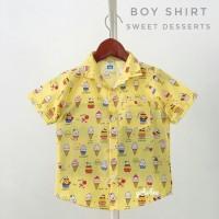 kemeja hem baju pakaian anak bayi cowok corak motif kuning distro