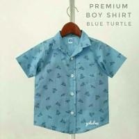 kemeja hem baju pakaian anak bayi cowok corak motif biru laut distro