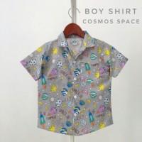 kemeja hem baju pakaian anak bayi cowok corak motif abu ungu distro