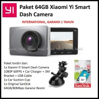 Paket 64GB Xiaomi Yi Smart Car DashCam Dash Camera ADAS 1080P 60FPS