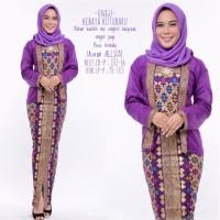 baju muslim wanita gamis batik modern setelan kutubaru GB184 ungu