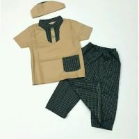 Baju Muslim Koko anak bayi laki 6 7 8 9 10 11 bulan gamis coklat