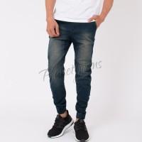 Celana Jogger Pants Bahan Jeans Model Chino / Joger Cowok Navy Wash 19