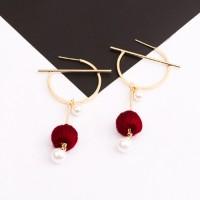 Anting Korea South Korean Pompom Pearl Round Earrings REA092
