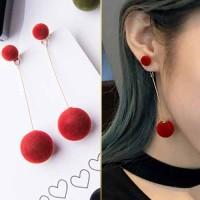 Anting Korea Fur PomPom Long Ball Plush Ball Earrings JUN242
