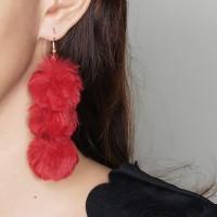 Anting Korea Triple PomPom Earrings OKT544