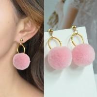 Anting Korea Round PomPom Earrings BE4026