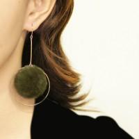 Anting Korea PomPom Circle Ring Earrings OKT470