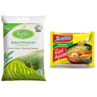 BERAS SANIA 5kg + INDOMIE 1pcs ALL VARIANT
