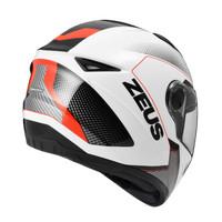 Helm Full Face zeus 811 White AL6 Red, not nolan, airoh, agv,
