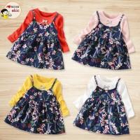 Terbaru Dress Casual Bayi / Anak Perempuan Lengan Panjang Motif Bunga
