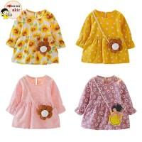 Terbaru Dress Princess Anak Perempuan Lengan Panjang Motif Bunga untuk