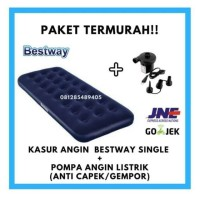 KASUR ANGIN BESTWAY SINGLE PLUS POMPA ANGIN LISTRIK UKURAN 185 x 75cm
