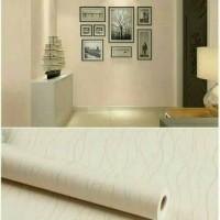 Wallpaper Dinding Kream Garis Gelombang Gold Minimalis 10 M x 45 cm