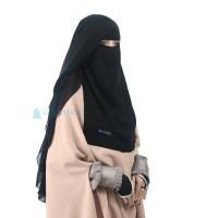 Niqab Saudi Yaman Alsyahra Chiffon Super Jetblack 2 Layer