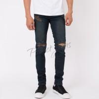 Celana jeans skinny pria ripped knee robek lutut skiny deep blue sobek