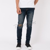 Celana jeans skinny pria ripped knee robek lutut skiny blue deep sobek