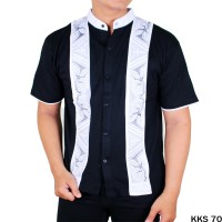 Baju Koko Lengan Pendek Motif Bordir Hitam Putih (KKS)