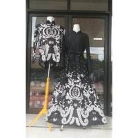 couple batik gamis katun motif abu abu mix baloteli baju couple batik