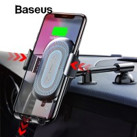 RARE Baseus Qi Wireless Charger Car Phone Holder for iPhone XS Mount