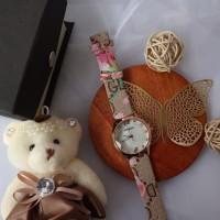 [free box & boneka] Jam Tangan Etnik Wanita Bunga Flower Strap Unik Qu